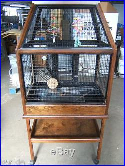 $1178 Large Designer Aviaries BIRD CAGE Cherry Wood Red Mahogany with stand