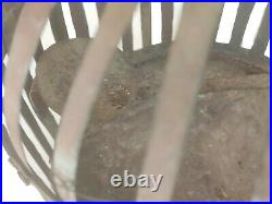 1950's Vintage Bird Cage Old Antique Tin Made Painted Primitive Garden Cage C2