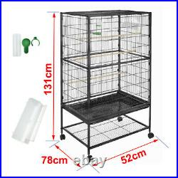 1.3m Large Bird Aviary Cage Wheels Parrot Pet Supplies Canary Budgie Black S247