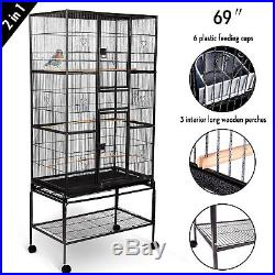 2IN1 69 Large Bird Cage WithPerches+Cups Parrot Pet Supplies Finch Macaw Cockatoo
