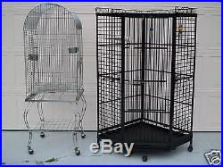 2 LARGE BIRD CAGES, WROUGHT IRON CORNER CAGE AND SILVER CAGE, PARROT, WHEELS