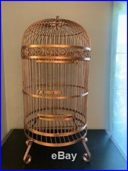 37 Ancient Vintage Large Bird Cage Cooper Color Restored Handmade Free Shipping