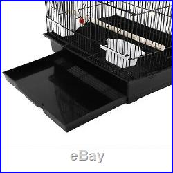 37 Bird Parrot Cage Parakeet Cockatiel Finch withWood Perches & Food Cups Black