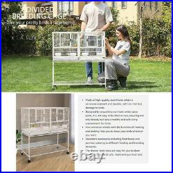 41.5'' Stackable Divided Breeding Iron Bird Cage Parakeet House with Rolling Stand