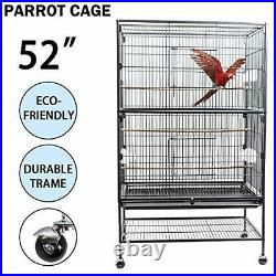 52 Large Wrought Iron Bird/Parrot/Parakeet Cage, Solid Wood Support, 4 Wheels