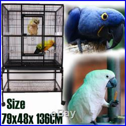 53.5 Large Finch Cage Playtop Gym Perch Parakeet Macaw Bird Cage 79x48x 136CM