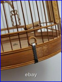 56 branch China Oriental Round Shape Bamboo Wood Birdcage Display