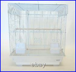 5824 3/8 Bar Spacing SquareTop Small Bird Cage 18x14 In White