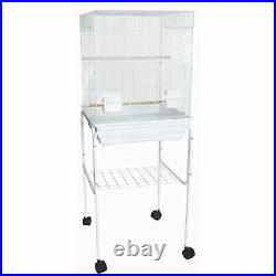 5824 3/8 Bar Spacing SquareTop Small Bird Cage With Stand 18x14 In White