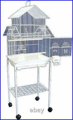 5844 3/8 Bar Spacing Pagoda Small Bird Cage With Stand 18x14 In White