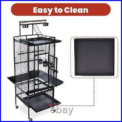 61'' 2in1 Large Bird Cage with Rolling Stand Parrot Cage Pet House Iron Birdcage