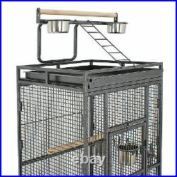 61 Bird Cage Play Top Large Parrot Cage Iron Include Ladder 2 Perches Black