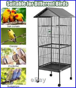 61 Large Bird Cage Play Top Pet Parrot With Stand Canary Aviary Finch Outdoor