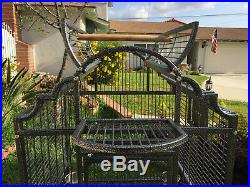 63 Large Wrought Iron Open Dome Play Top Parrot Macaw Cockatoos Amazon Cage 240