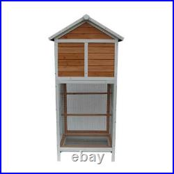 64 Bird Cage Parakeet Canary Finch Conure Play House 3 Wooden Perches White