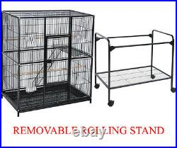 64 Large Wrought Iron Flight Aviary Canary Finches Bird Cage WithRemovable Stand