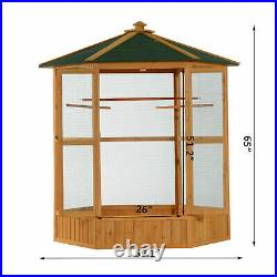 65 Inch Large Outdoor Aviary Bird Cage House for Parakeet Parrot Macaw Perch