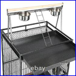 68.5'' Playtop Rolling Metal Parrot Bird Cage for Canaries Cockatiels Parakeets