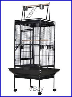 68 Large Bird Cage Play Top Parrot Finch Cage Macaw Cockatoo Pet Supplies Black