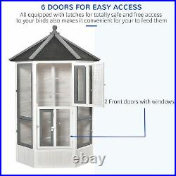 72 Large Large Wooden Bird Aviary Cage with Perches Lockable Door Nest Window