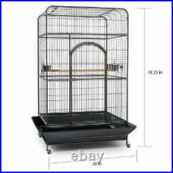 78 Extra Large Rolling Black Cockatiel Cockatoo Parakeet Parrot Finch Bird Cage