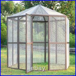 93 Large Walk-in Bird House Hexagonal Design Aviary Cage Parrot Macaw Animal