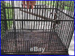 AWESOME VINTAGE WROUGHT IRON CUSTOM BIRD CAGE FUNCTIONAL