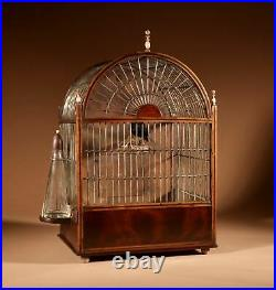 A Rare Regency Wall Hanging/ Standing Mahogany And inlaid Bird Cage
