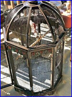 Antique Carved Wood Bird Cage Ornate Hand Painted Xlarge 4' Wire Dome Finch