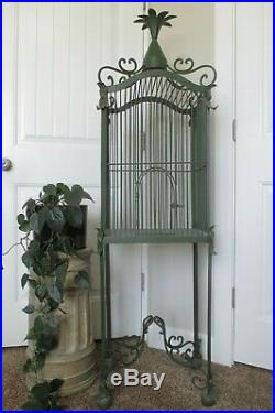 Antique French Bird Cage Solid Iron Cathedral Pineapple Dome Vtg Leaf Scrolls