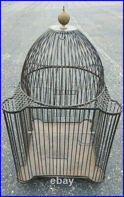 Antique Large Architectural Metal Bird Parrot cage Great Form no tray 18 X 32