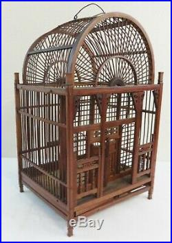 Antique Ornate Wood Bird Cage Spindles & Wood Pin Construction Ca. 1890's