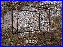 Antique Solid Iron 2 Part Bird/Parrot Cage on Wheels