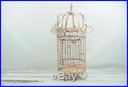 Antique/Vintage Pink Wrought Iron Bird Cage Vintage Birdcage Hanging Table Top