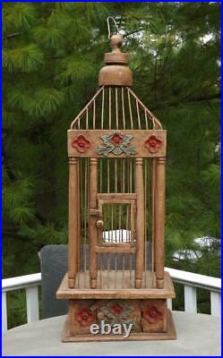Antique Wood Hanging Bird Cage Metal Spacers 32 Tall
