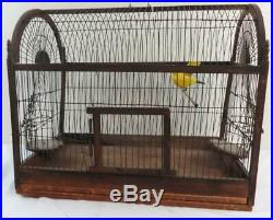 Antique Wood & Wire Bird Cage Carved Wood Yellow Bird Inside Ca. 1890's
