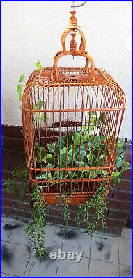 Asian Bamboo Hanging Bird Cage Hand Carved Wood withHook Curved Ornate Natural