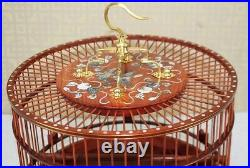 Asian Bird Cage Rosewood Round Pet Nest Home Shell Inlay Craft High End