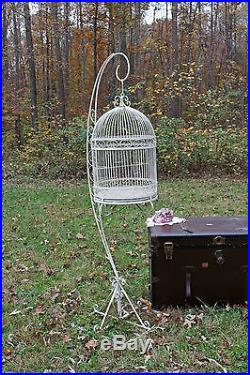 Authentic Vintage Wrought Iron Bird Cage with Stand, Large Cage, Wedding Decor