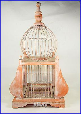 BEAUITIFUL VINTAGE VICTORIAN ROUND DOME WIRE BIRD CAGE ORNAMENTAL PINK