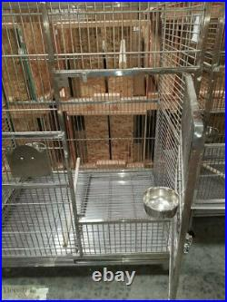 BIRD CAGE Stainless Steel Indoor Outdoor Parrot Macaw 60x48x36 Perches Bowls