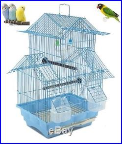 Bird Cage House Style Blue Metal Swing Perch Feeders Two Story Small