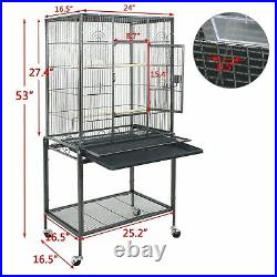 Bird Cage Large Parrot Play Cockatiel House 53 Metal Stand Doors with 4 Casters