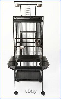 Bird Cage Macaw Large Metal Cockatoo Parrot Wheels Wire Removable Black