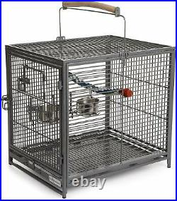 Bird Cage Travel Pet Metal Perch Food Cup Animal Parrot Budgie Canary Macaw
