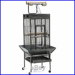 Bird Cage with Parrots Stand Finches Cockatiels Medium 61 Iron Wheels Home Pet