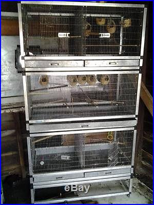 Bird cage, divided, 1 flight, 4 divided, metal, casters, heavy