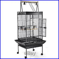 Black Bird Cage Parrot Finch Cage Play Top Gym Perch Stand Cockatoo Pet Supplies