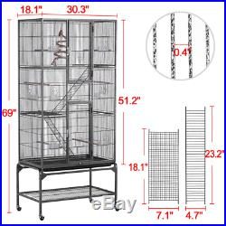 Black Extra Large Bird Parrot Cage With Detachable Stand Outdoor Garden Pet House