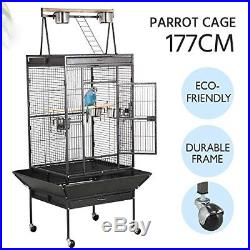 Black Large Bird Breeding Cage Aviary Cockatoo Parrot Finch Play Top Pet Supplie